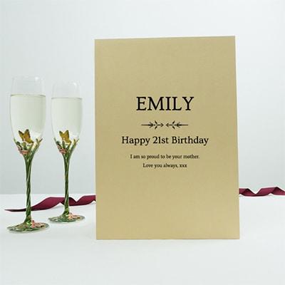 21st birthday champagne flute